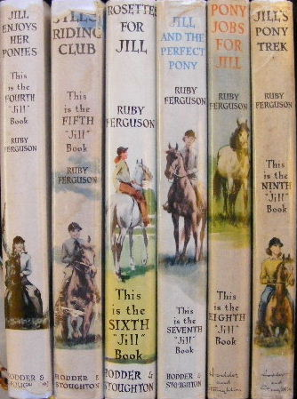 Picture of spines of six Jill hardbacks showing numbering